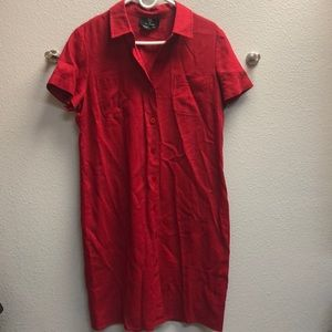 Red Linen Shirt Dress